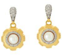 Genesi 18K Clad Cultured Pearl & White Topaz Drop Earrings ...