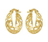 14K Gold Swirl Cut-out Hoop Earrings  QVC.com