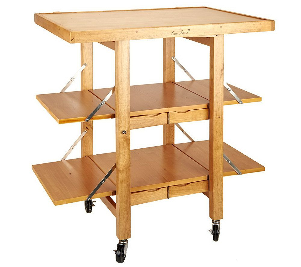 Folding Island Kitchen Cart With Extendable Shelves Page 1 — QVC Com