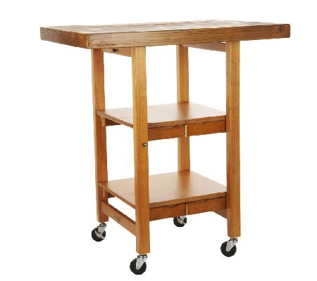 Folding island kitchen cart with hand brushed textured top qvc com