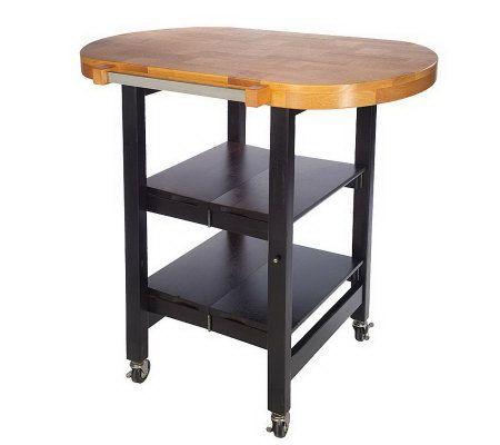 Folding Island Oval Shape Kitchen Cart WButcher Block