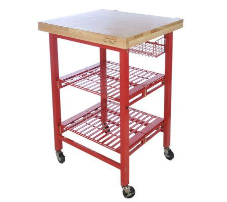 Folding Island Kitchen Cart With Colored Metal Frame