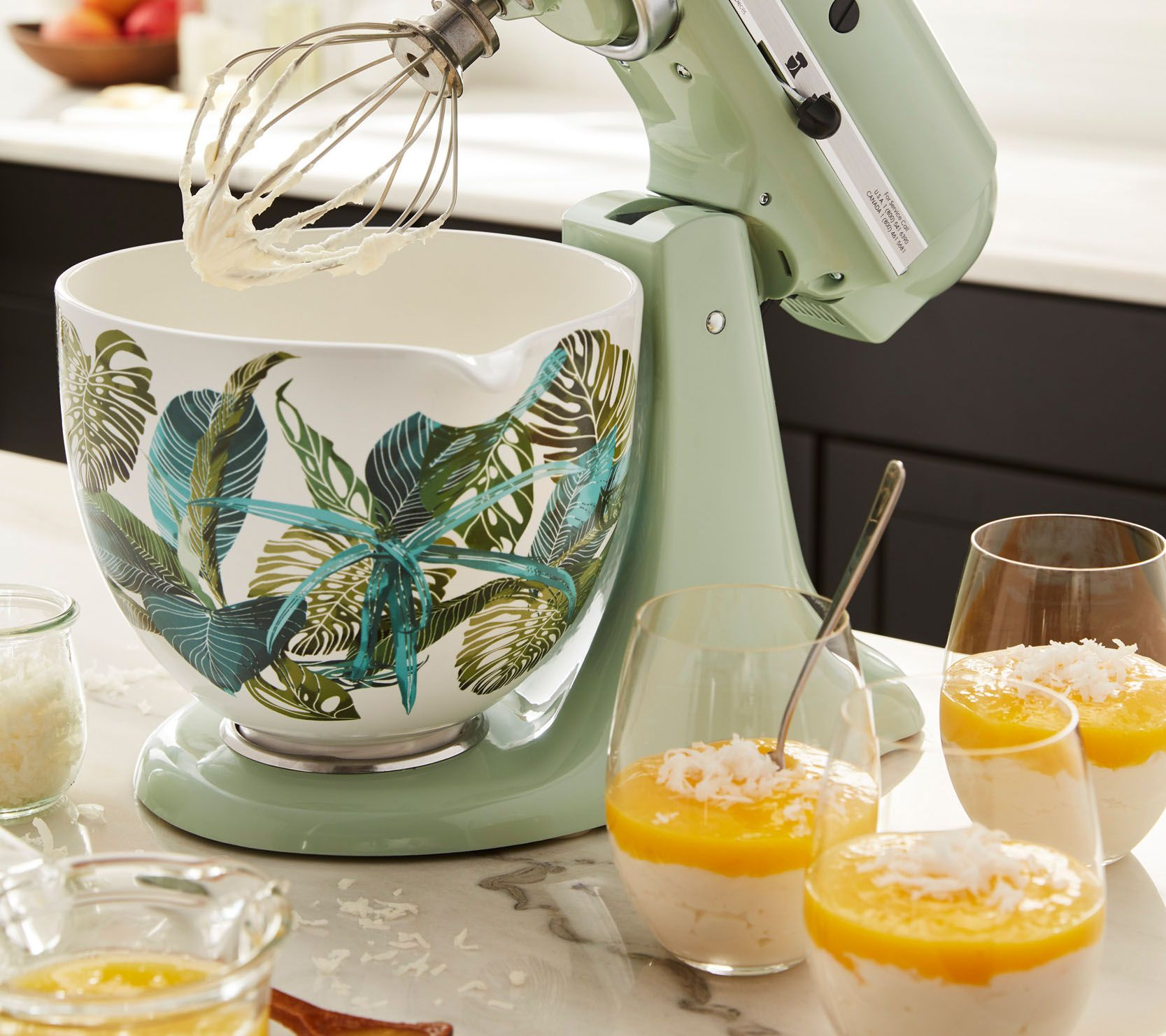 kitchen aid bowls outdoor with green egg kitchenaid 5 quart ceramic patterned bowl tropical floral page 1 qvc com
