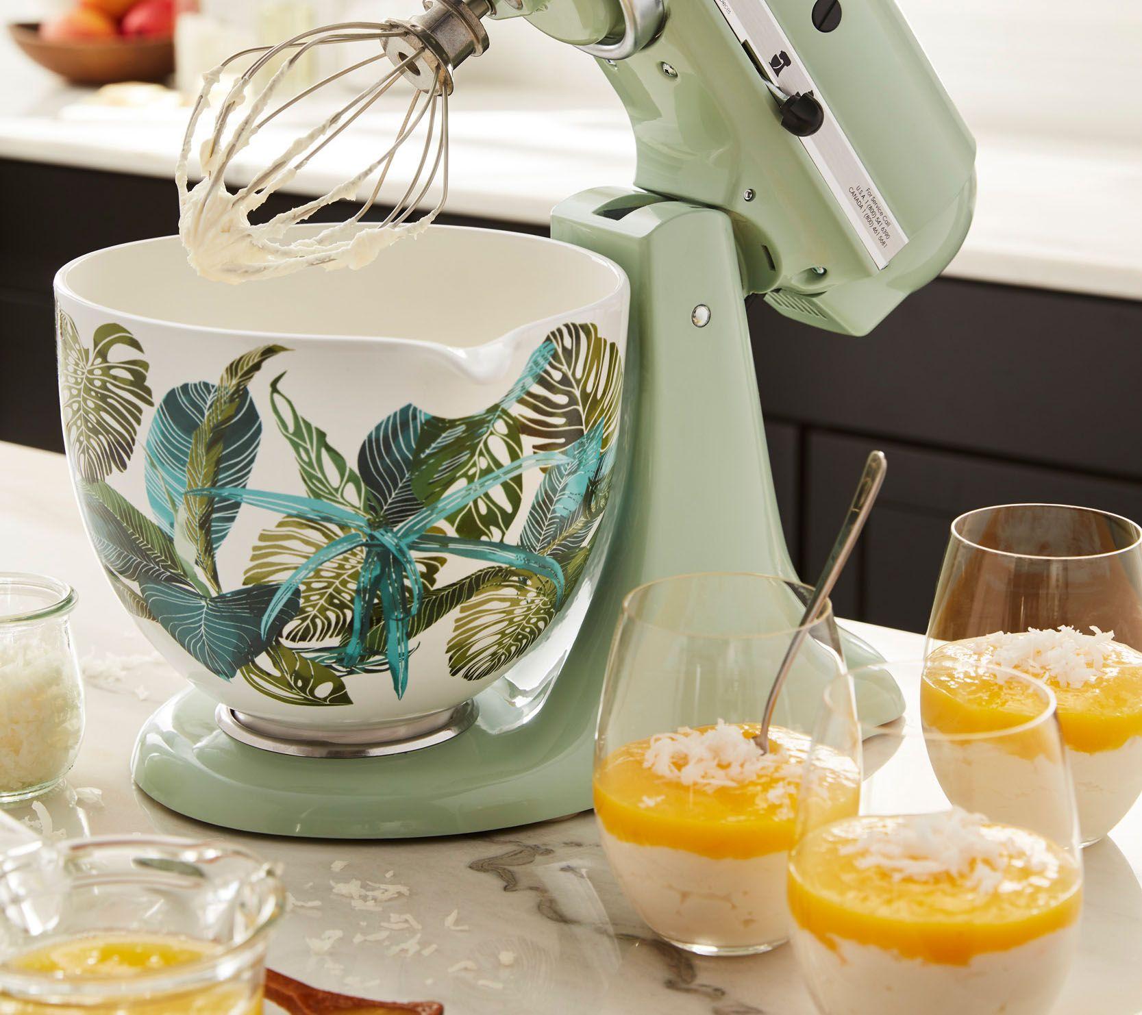 kitchen aid bowls wall art for kitchenaid 5 quart ceramic patterned bowl tropical floral page 1 qvc com