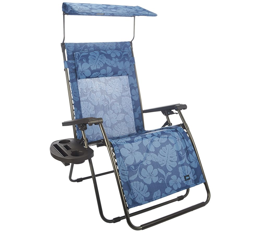 office chair qvc sporting event chairs as is bliss hammocks deluxe xl gravity free recliner w canopy tray com