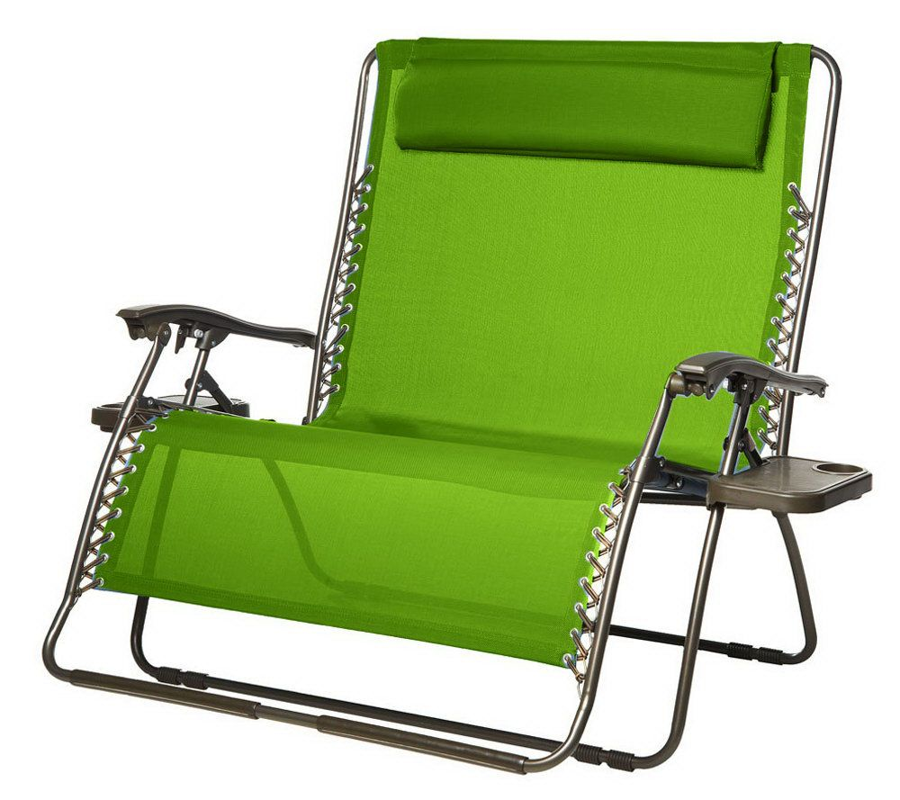 2 person camping chair and half with ottoman bliss hammocks gravity free recliner pillow page 1 qvc com