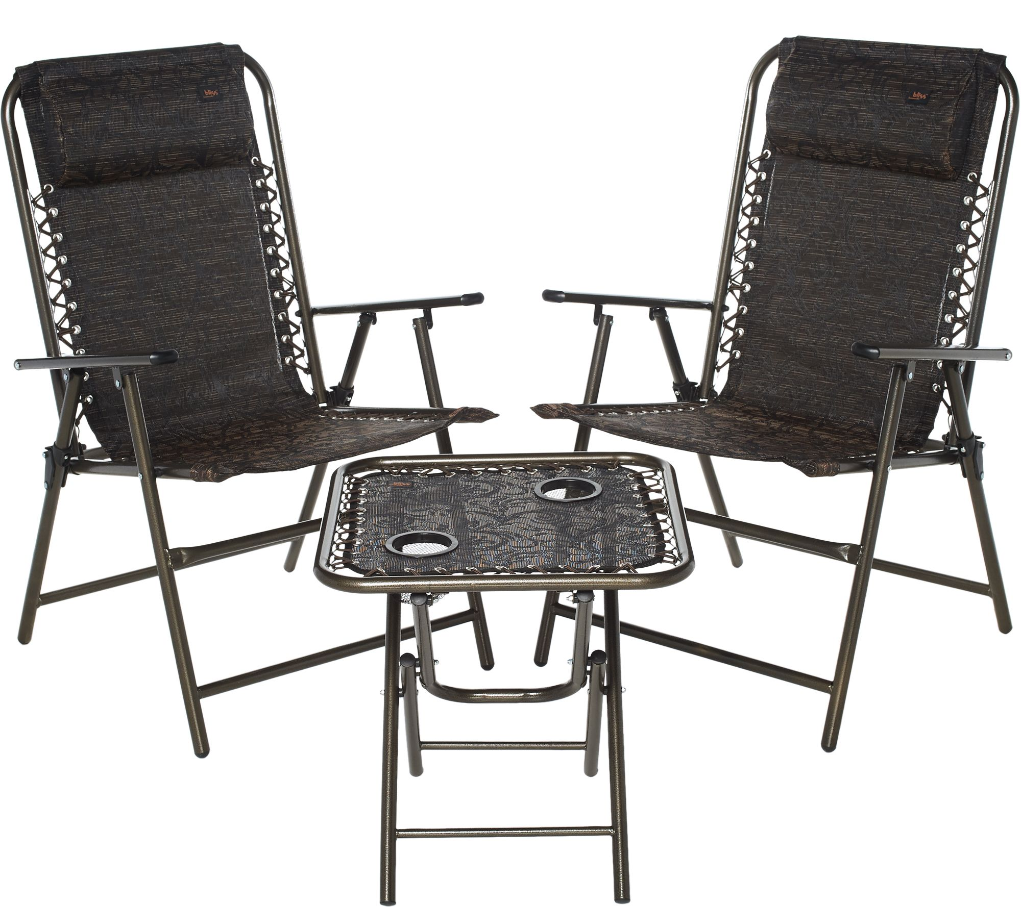 outdoor folding chair with side table mongolian fur cover bliss hammocks patio set 2 chairs and