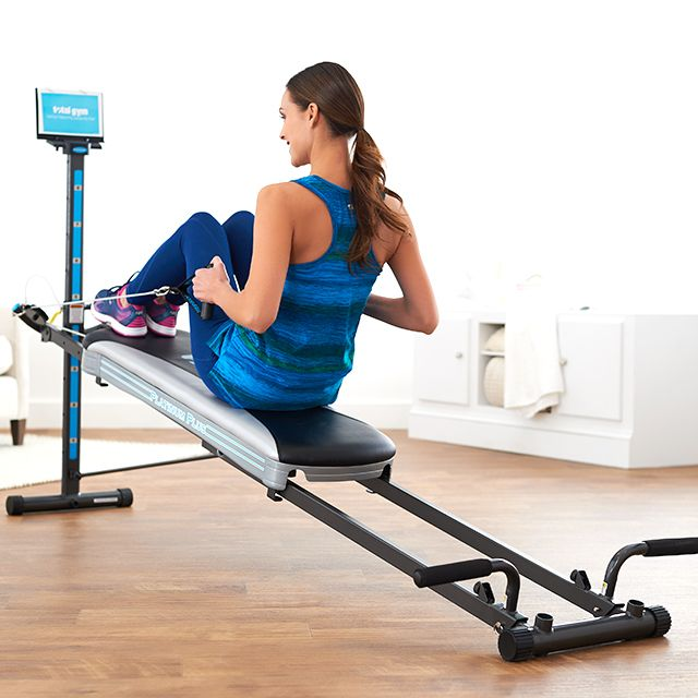 chair gym workout videos leather belt fitness equipment dvds health qvc com home