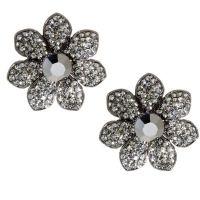 Butler & Wilson Large Crystal Flower Clip On Earrings ...
