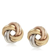 9ct Gold Tri Colour Textured Knot Stud Earrings