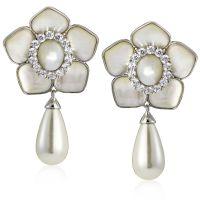 Diamonique by Tova 2.8ct tw Pearl Flower Clip-On Earrings ...