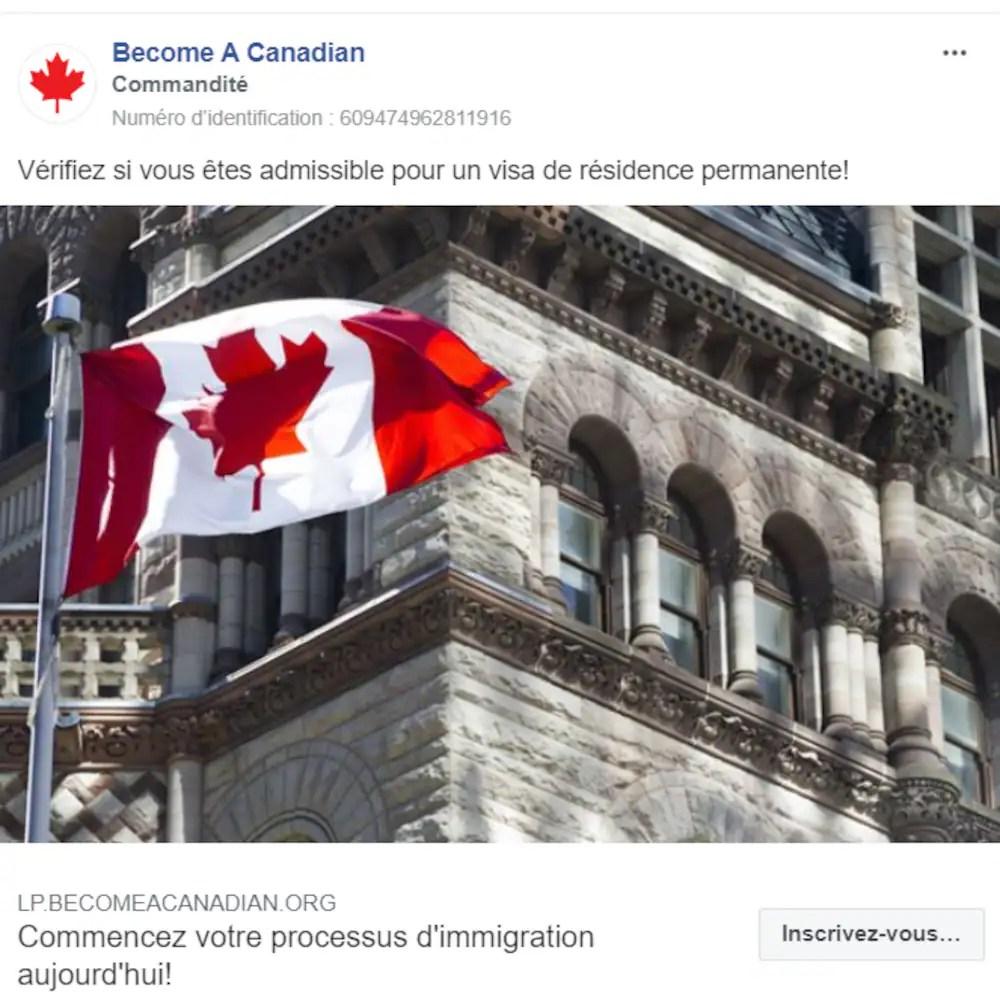 Capture d'écran d'une page Facebook.