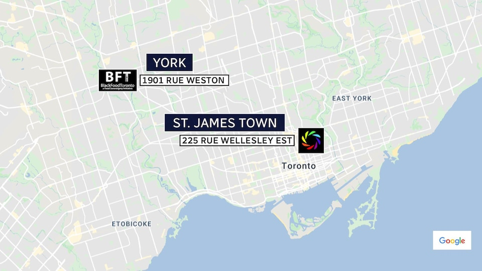 Graphic showing the location of Black Food Toronto and the St. James Town Community Co-operative