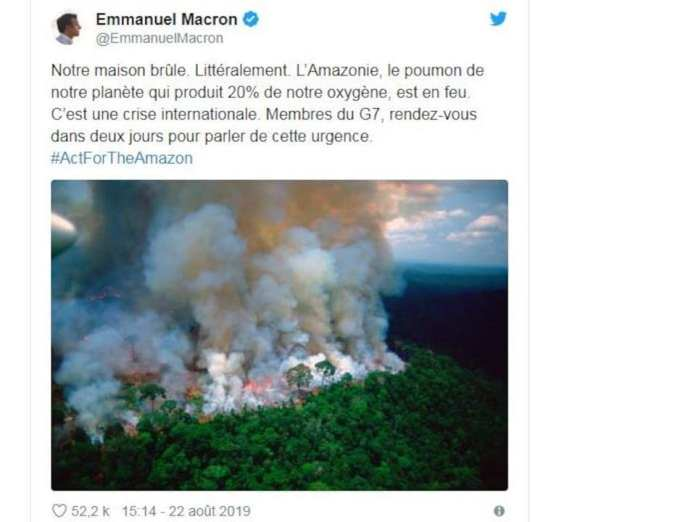 President Macron's tweets about forest fires in the Amazon.