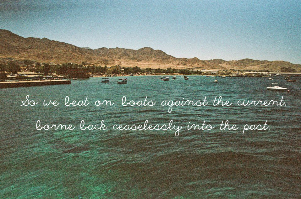 great gatsby quote boats shore book