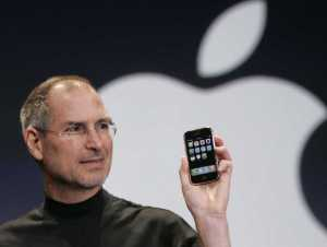 Steve Jobs giving one of his famous keynotes in 2007, only a year after he sold Pixar to Walt Disney Corp.