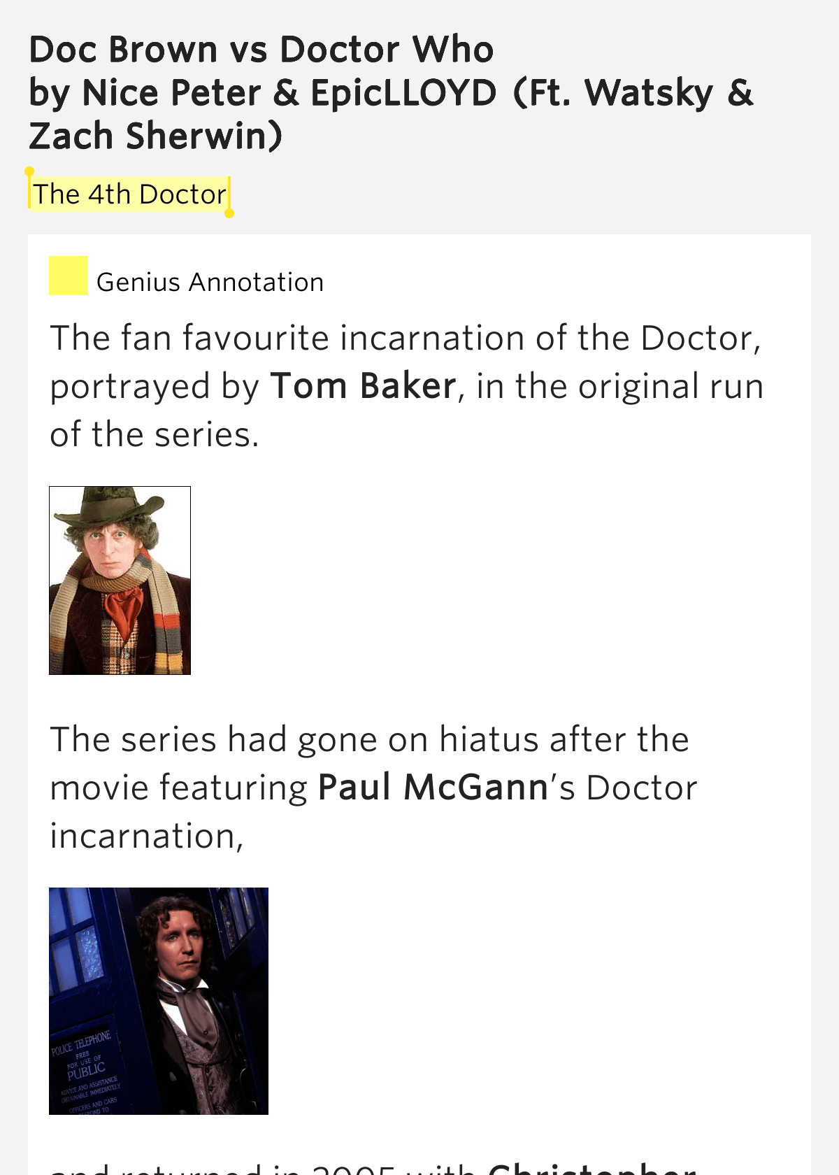 The 4th Doctor Doc Brown Vs Doctor Who Lyrics Meaning