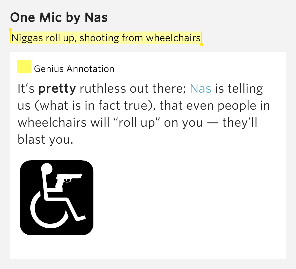 Niggas roll up shooting from wheelchairs  One Mic Lyrics