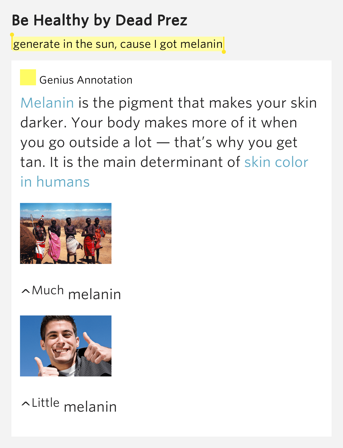 Generate in the sun cause I got melanin – Be Healthy by ...
