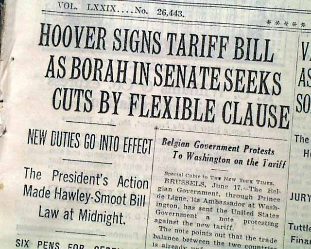 Image result for image of smoot-hawley tariffs