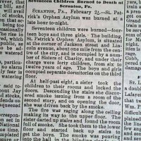 Scranton PA: St. Patrick's Orphan Asylum Fire