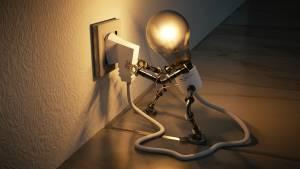 robotics - robot light bulb pulling at an extension cord