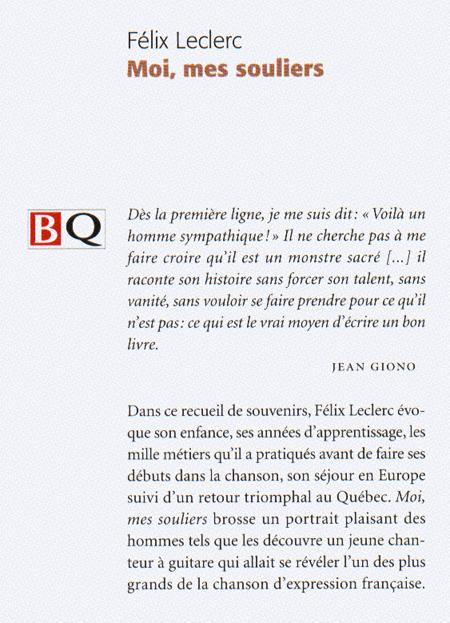Félix Leclerc Moi Mes Souliers : félix, leclerc, souliers, FELIX, LECLERC, Souliers, Romans, Québécois, Canadiens, LIVRES, Renaud-Bray.com, Livres, Cadeaux