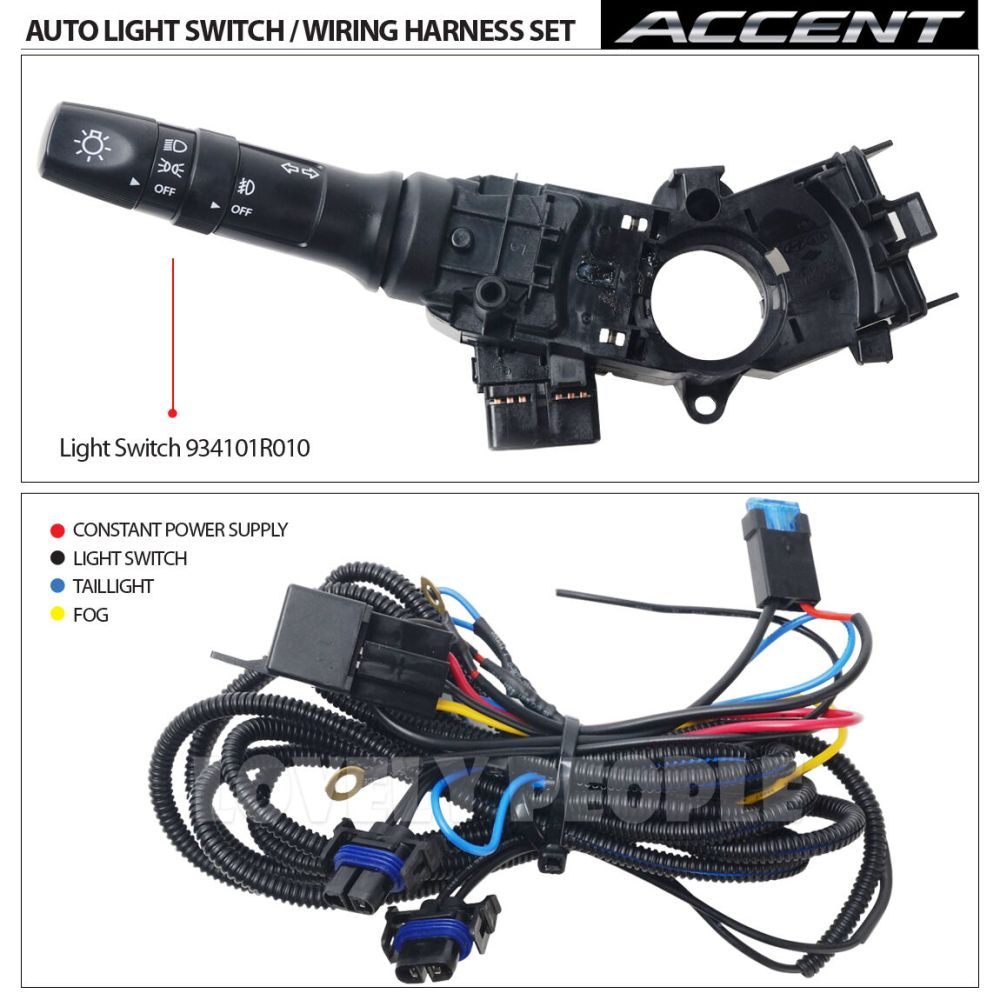 medium resolution of new fog light lamp complete kit wiring harness oem for 2012 2013 hyundai accent fog light lamp complete kitwiring harnessmf switch