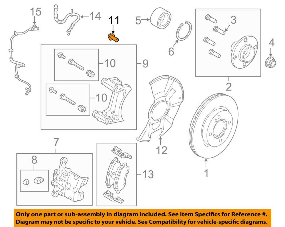 medium resolution of ford oem 11 18 fiesta brake front caliper support mount bolt w711241s442a for sale
