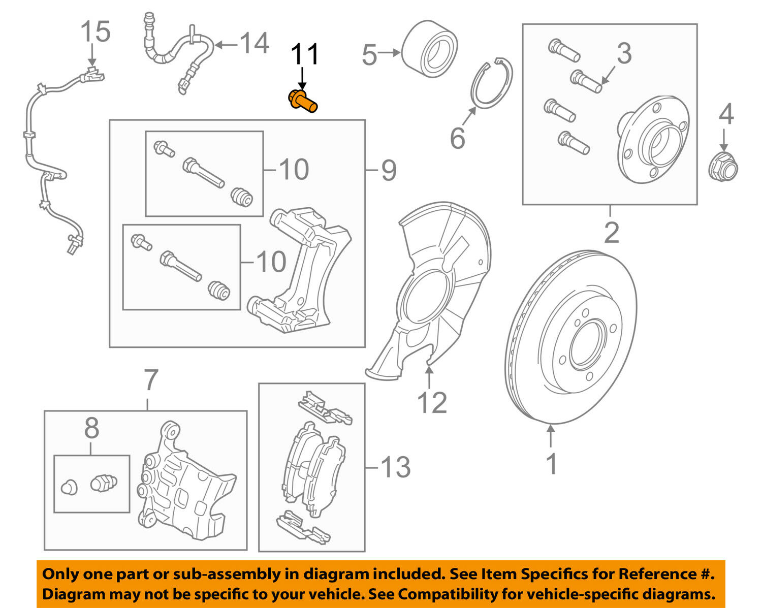 hight resolution of ford oem 11 18 fiesta brake front caliper support mount bolt w711241s442a for sale
