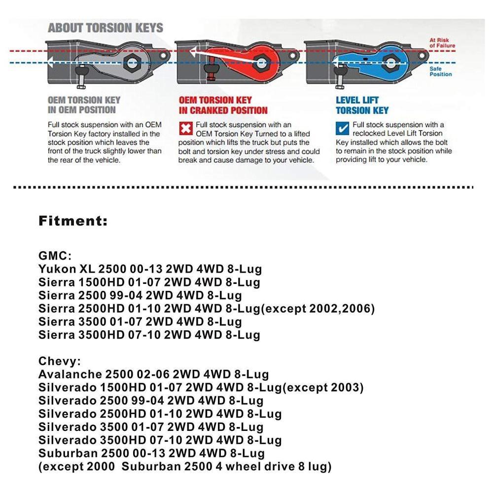 medium resolution of chevy gmc silverado sierra 2500hd 3500hd 2wd 4wd 1 3 front lift leveling keys for sale