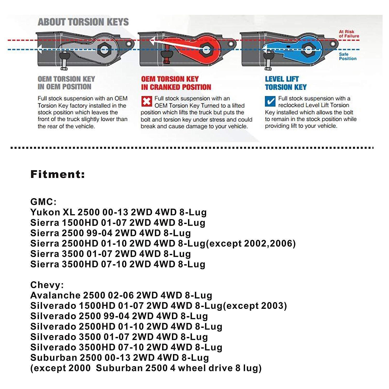 hight resolution of chevy gmc silverado sierra 2500hd 3500hd 2wd 4wd 1 3 front lift leveling keys for sale