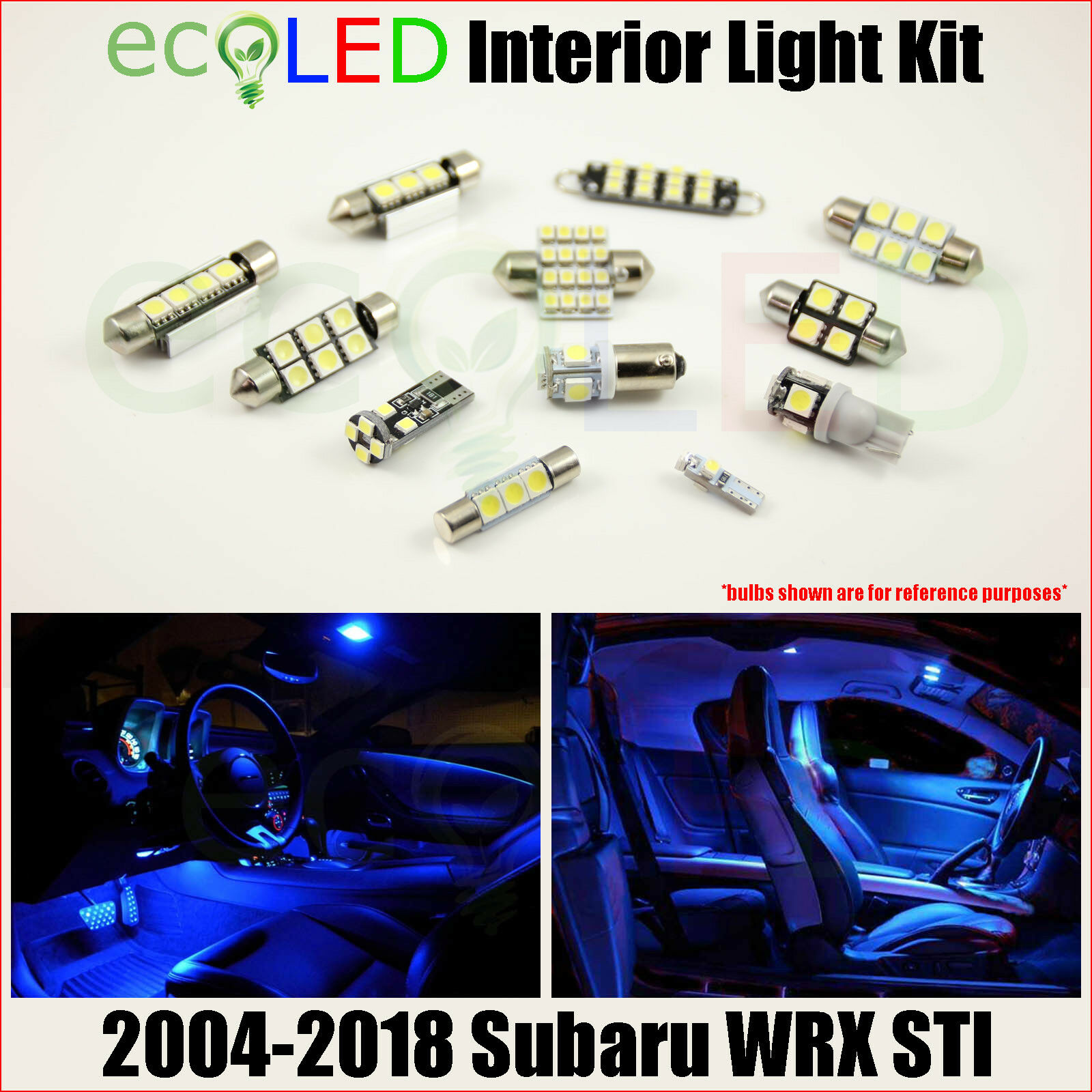 hight resolution of fits 2004 2018 subaru wrx sti blue led interior light accessories kit 8 bulbs for sale
