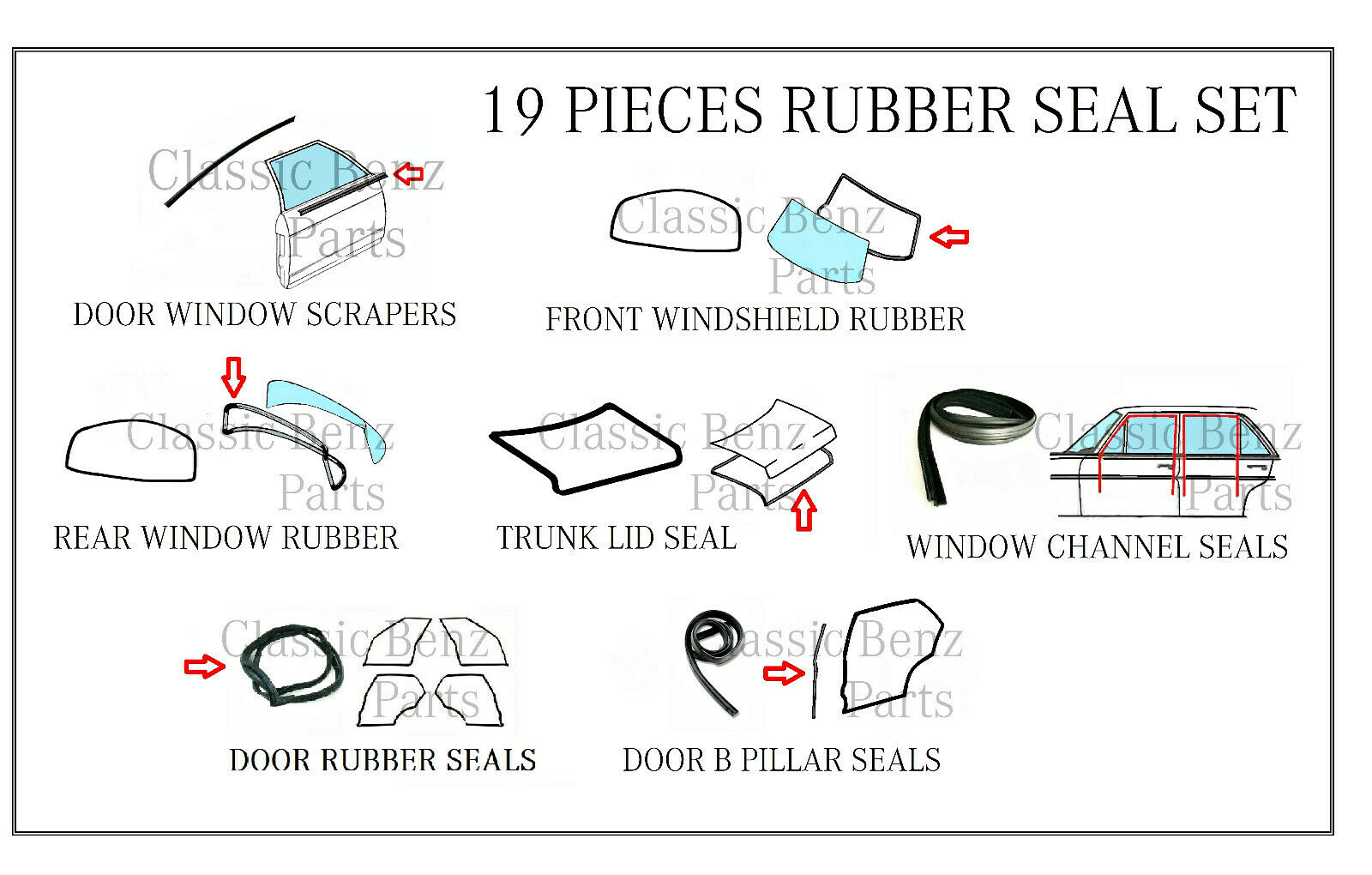 hight resolution of mercedes w114 w115 door window windshield trunk rubber seal set 15 pieces for sale