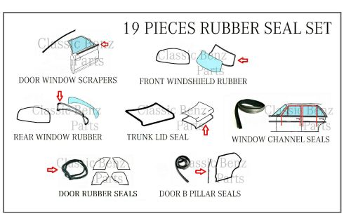 small resolution of mercedes w114 w115 door window windshield trunk rubber seal set 15 pieces for sale