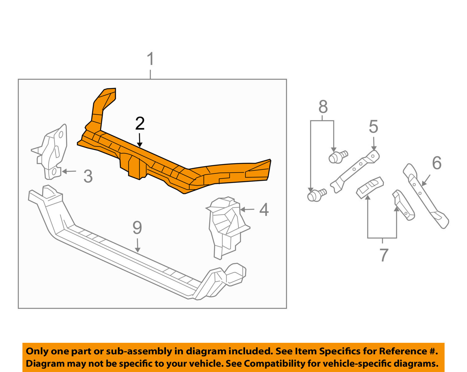 hight resolution of acura honda oem 04 08 tl radiator core support upper tie bar 04602sepa10zz for sale