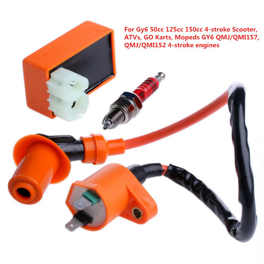 hight resolution of racing cdi box 6 pin ignition coil spark plug for gy6 50 150cc moped scooter for sale