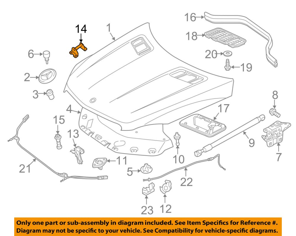 medium resolution of mercedes mercedes benz oem 12 15 ml350 hood lock latch striker 1668800164 for sale