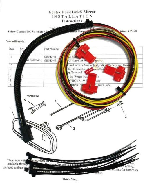 small resolution of gentex gntx 313 453 homelink auto dimming rear view mirror wire wiring harness for sale