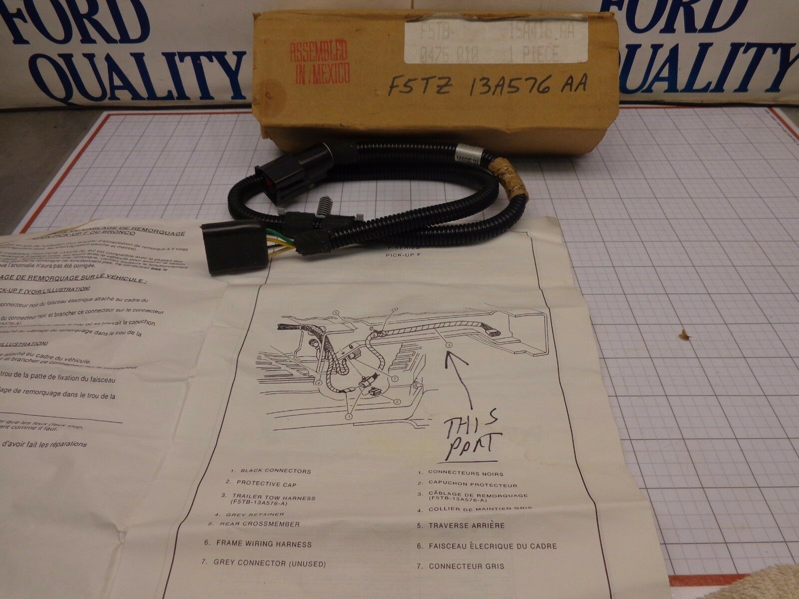 hight resolution of ford oem nos f5tz 13a576 aa trailer tow light wire wiring harness rear f series for sale