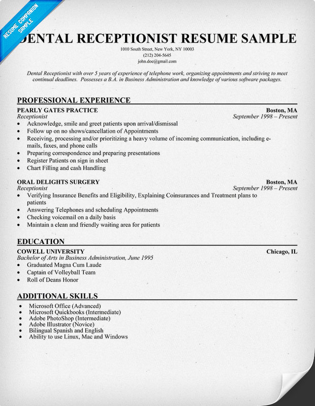 Receptionist Resume. 5 Sample Medical Receptionist Resumes 2017 ...