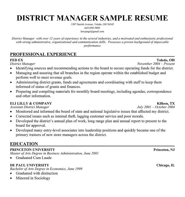 District Manager Resume Examples - Examples of Resumes