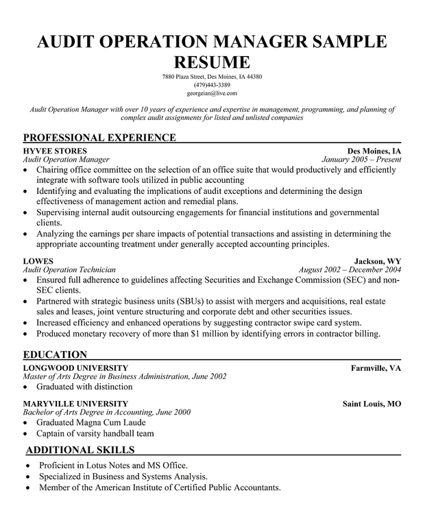 Audit Director Resume Example: Sample Resumes North Central Missouri College Landscape