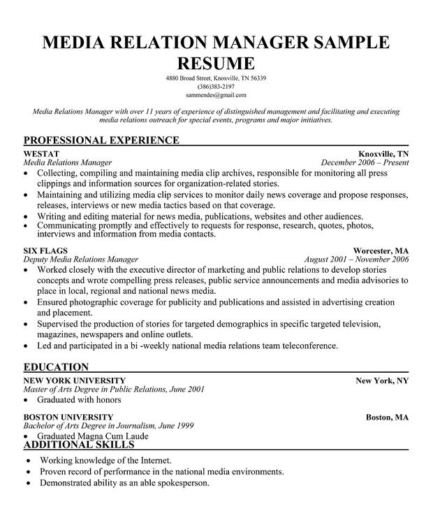 Sample Executive Director Resume Objective Chronological Business Public Relations Samples And