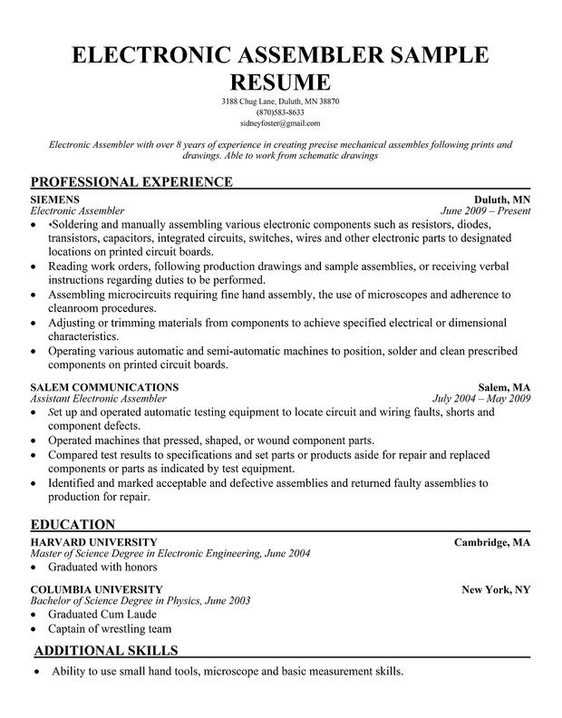 Electronics Resume Examples