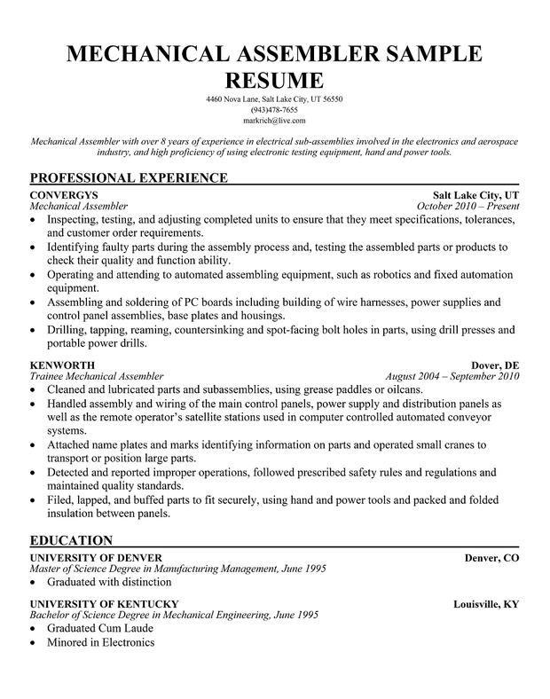 Sample Resume For Medical Device Assembler