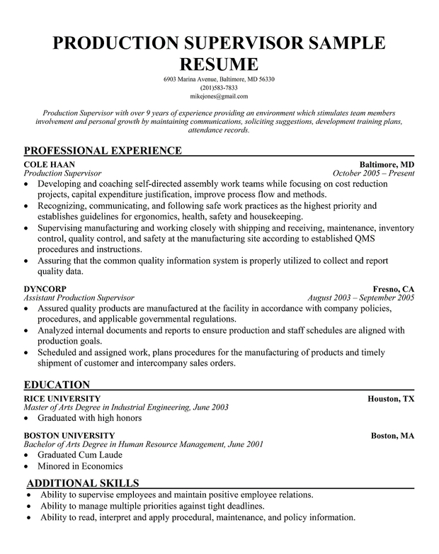 supervisor resume example examples of resumes