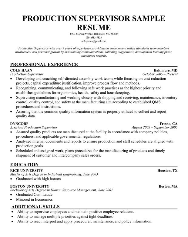Supervisor Resume Sample Free Supervisor Resume Examples
