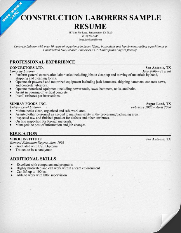 general labor resume examples - Laborer Resume Examples