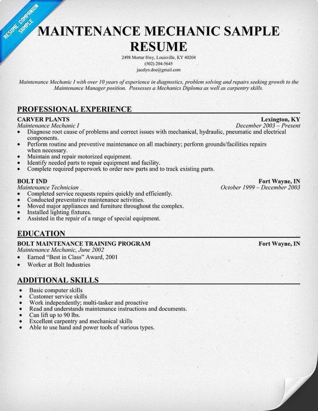 heavy equipment mechanic resume examples